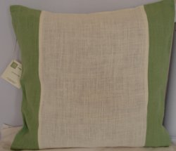 Striped Hemp Cushion Cover x 45cm - Natural Ivory & Grass Green