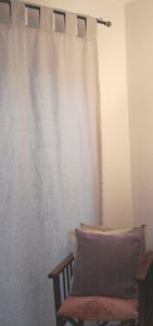 Hemp Curtain Panel with Embroidered Tab - Ice Grey SECOND
