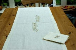 Hemp Runner - Natural Ivory with Vine Embroidery, 40cm x 180cm