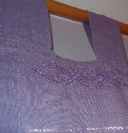 Hemp Curtain Panel with Embroidered vine -Soft Lilac