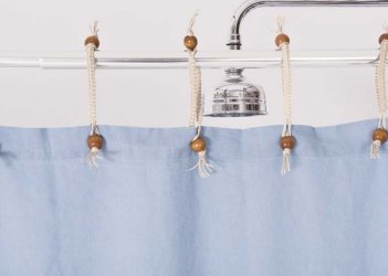 Hemp Shower Curtain Powder Blue 180cm Width
