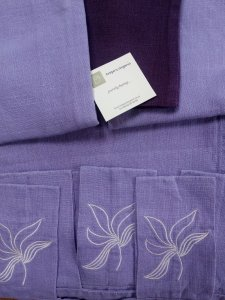 Natural Hemp Curtain Panel with Embroidered Tab Soft Lilac