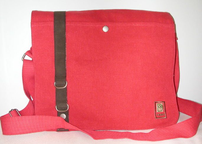 Courier Style Unisex Hemp Bag - Deep Red - Click Image to Close