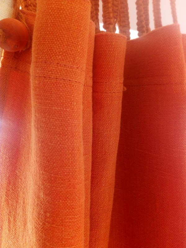 Hemp Shower Curtain 'Purely Burnt Orange' 180cmx196cm drop