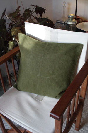 Hemp Cushion Covers - Deep Olive Green, 45cm x 45cm